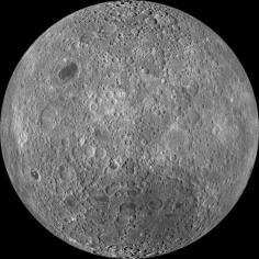 The lunar farside as never seen before! LROC WAC orthographic projection centered at 180 degrees longitude, 0 degrees latitude.